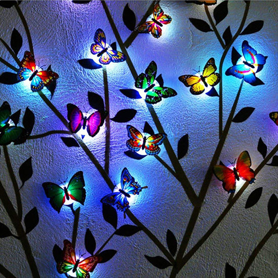 Takson - erfly Led Decoration Wall Sticker Lights (12 Pcs ... on